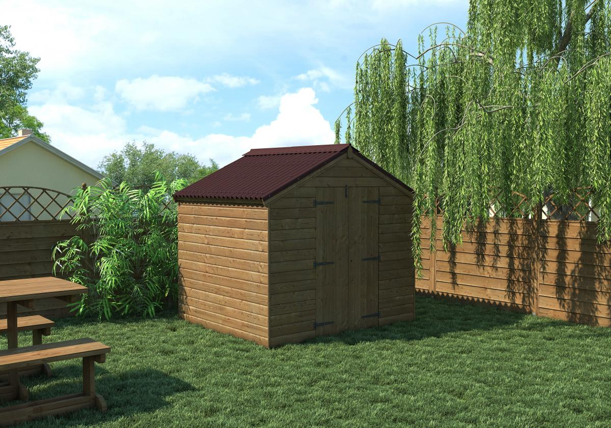 Garden Shed covered with Easyline Intense Brown