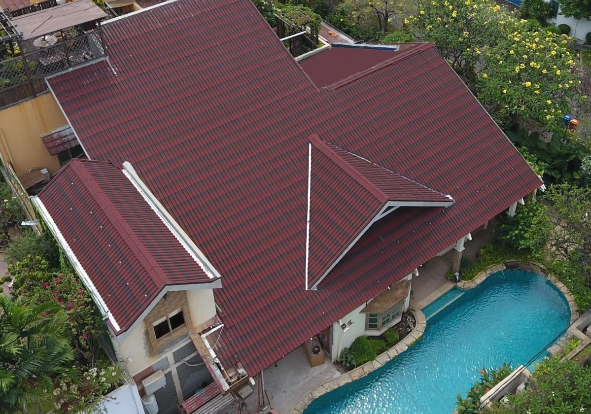 Onduline TIle Red House roof with Swimming Pool